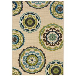 Caspian Ivory/Green Indoor/Outdoor Rug