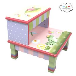 Fantasy Fields Crackled Rose 2 Step Mdf Step Stool With