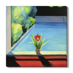Red Orchid' by Ieva Baklane Framed Painting