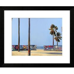 'Graffity Wall and Ocean' by Ieva Baklane Framed Painting
