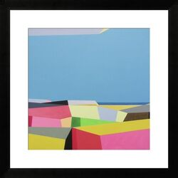 City by the Ocean' by Ieva Baklane Framed Painting