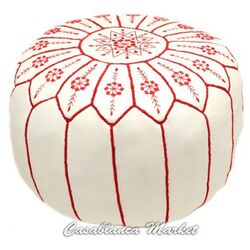 Leather Embroidered Ottoman