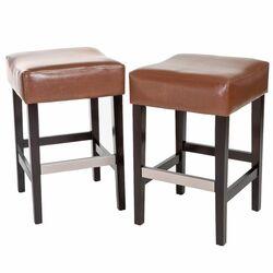 Tate Backless Leather Bar Stool