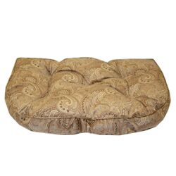 Paisley Microfiber Tufted Hearth Dog Bed in Tan