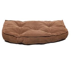 Microfiber Tufted Hearth Dog Bed in Chocolate