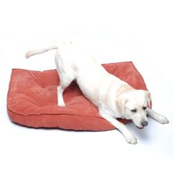 Microfiber Tufted Hearth Dog Bed in Earth Red