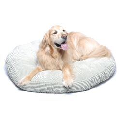 Plush Chenille Round Pet Bed with Non Skid Bottom in Seagrass