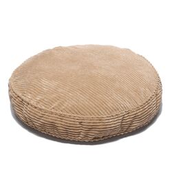 Plush Chenille Round Pet Bed with Non Skid Bottom in Coffee