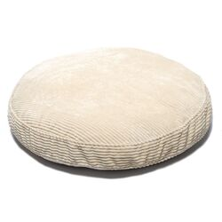 Plush Chenille Round Pet Bed with Non Skid Bottom in Beach