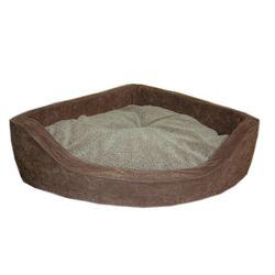 Microfiber Corner Pet Bed in Chocolate