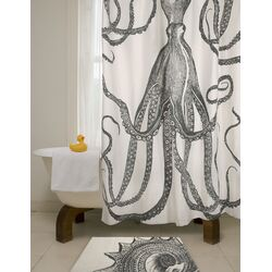Bath Octopus Shower Curtain in Charcoal