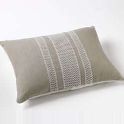 Labyrinth Embroidered Natural Linen Decorative Pillow