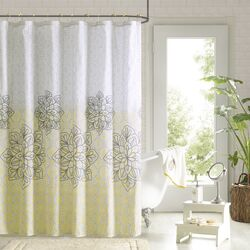 Jessica Polyester Printed Shower Curtain and Hook Set