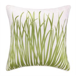 Seagrass Embroidered Linen Pillow