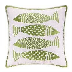 4 Fish Embroidered Linen Pillow