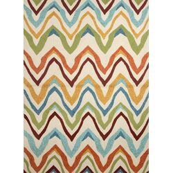 Coastal Ivory/Multi Geometric Indoor/Outdoor Rug