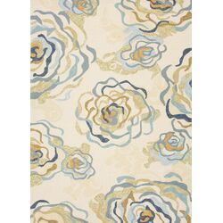 Colours I-O White Floral Indoor/Outdoor Area Rug