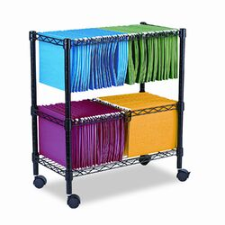 Two-Tier Rolling File Cart, 26w x14d x 30h, Black
