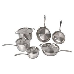 Professional Copper Clad Stainless Steel 10-Piece Cookware Set