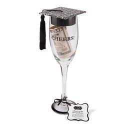 Graduation Grad Cap Champagne Glass