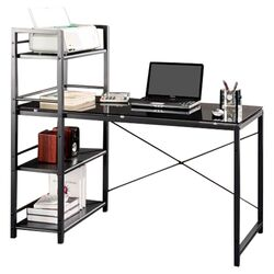Bermondsey Glass Top Computer Desk with 4 Shelf Metal Bookcase