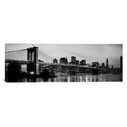 Flowers Brooklyn Bridge Photographic Print on Canvas in Black/White