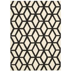 Linear Ivory and Black Rug