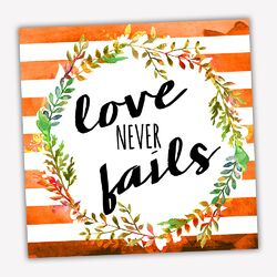 Wreath Quotes 'Never Fails' Textual Art on Wrapped Canvas
