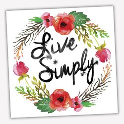 Wreath Quotes 'Live Simply' Textual Art on Wrapped Canvas