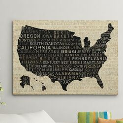'Map USA' Graphic Art on Canvas