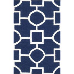 Dhurries Navy & White Area Rug