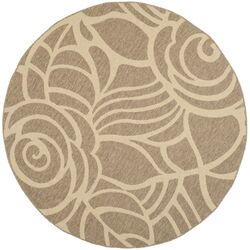Courtyard Coffee/Sand Floral Outdoor Rug
