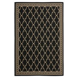 Courtyard Black & Sand Checked Area Rug