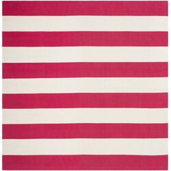 Montauk Red / White Striped Contemporary Rug