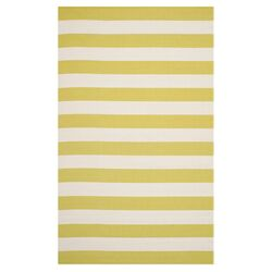 Montauk Green & White Striped Contemporary Rug