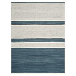 Kilim Blue & Ivory Striped Rug