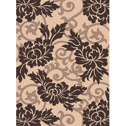 Courtyard Cr�me/Black Outdoor Rug