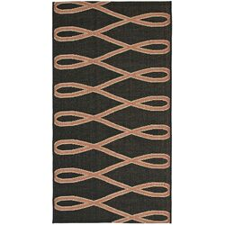 Courtyard Black/Cr�me Wave Outdoor Rug