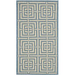 Courtyard Blue / Bone Outdoor Rug