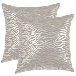 Demi Linen Throw Pillow in Silver