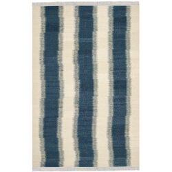Navajo Kilim Blue /Ivory Outdoor Area Rug