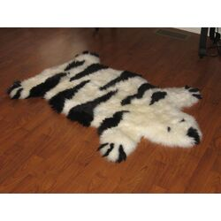 Designer Bear Animal Black/Ivory Stripe Area Rug