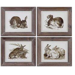 Regal Rabbits 4 Piece Framed Painting Print Set by Uttermost