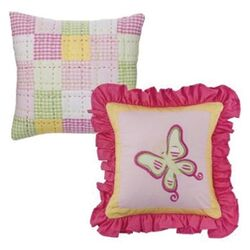Girls Stripes and Plaids Set of Two Decorative Pillows