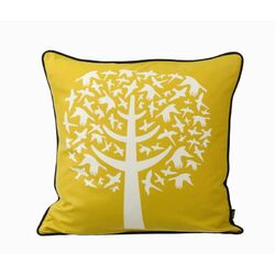Bird Leaves Silk Pillow