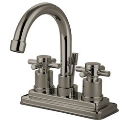 South Beach Double Cross Handle Centerset Bathroom Faucet with Brass Pop-Up