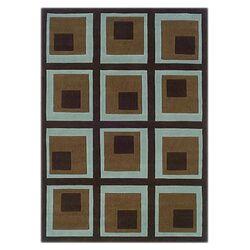 Trio Blocks Chocolate/Spa Blue Rug