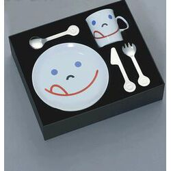 mono-Mono Kids Polished Children's Flatware Set with Smile Design