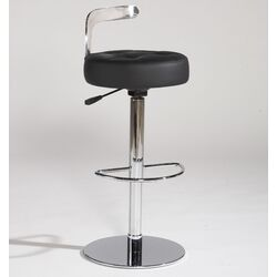 Canal Adjustable Leather Swivel Stool in Black