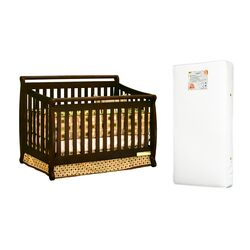 Amy 3-in-1 Crib w/ Toddler Guardrail and Organic 260-coil Mattress in Espresso